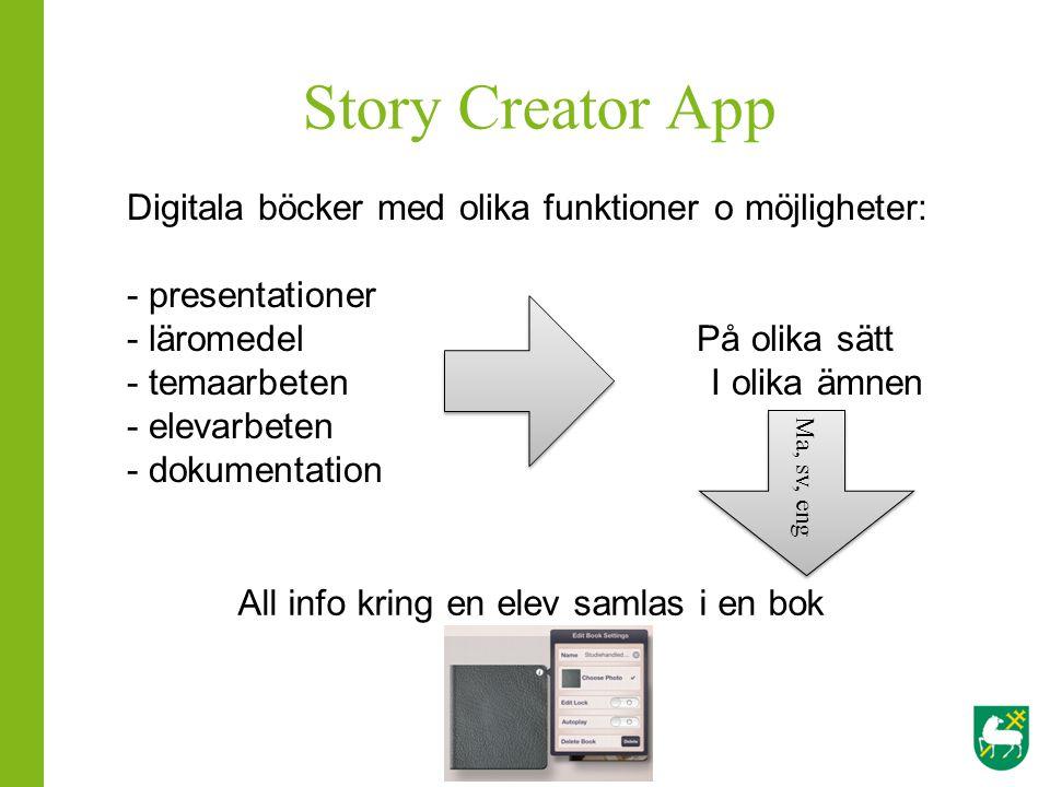 Story Creator App Digitala böcker med olika funktioner o möjligheter: