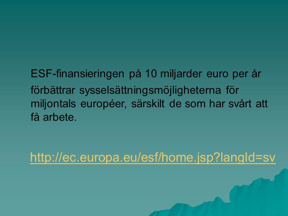 ESF-finansieringen på 10 miljarder euro per år