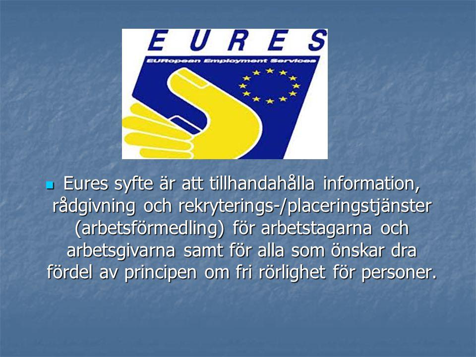 Eures syfte är att tillhandahålla information, rådgivning och rekryterings-/placeringstjänster (arbetsförmedling) för arbetstagarna och arbetsgivarna samt för alla som önskar dra fördel av principen om fri rörlighet för personer.