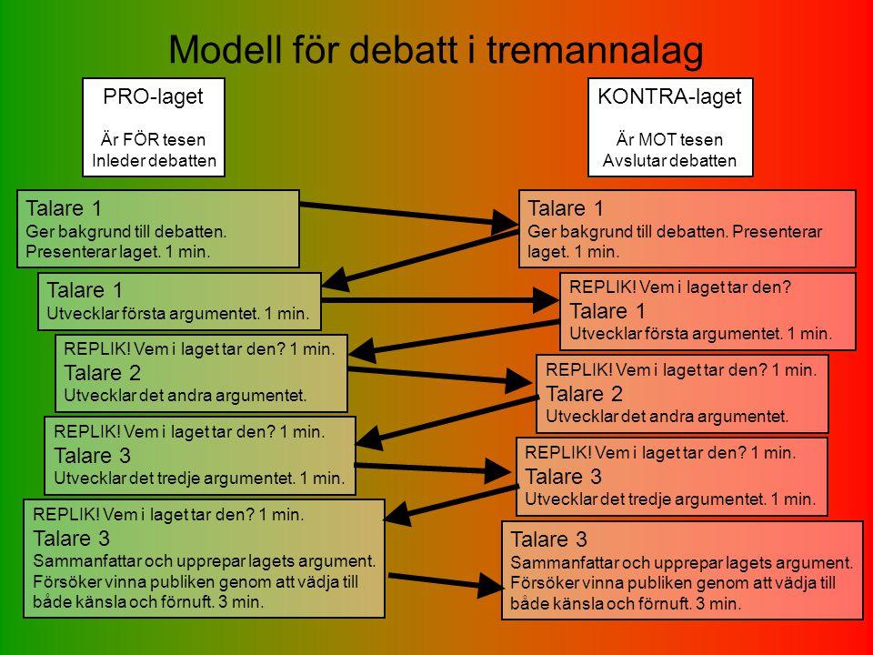 Modell för debatt i tremannalag