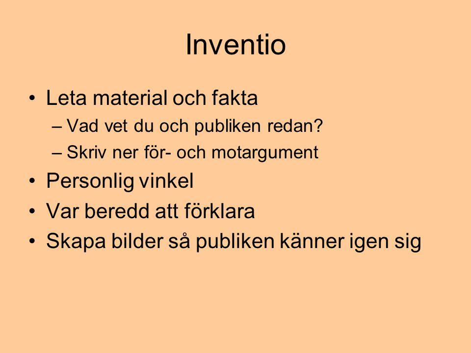 Inventio Leta material och fakta Personlig vinkel