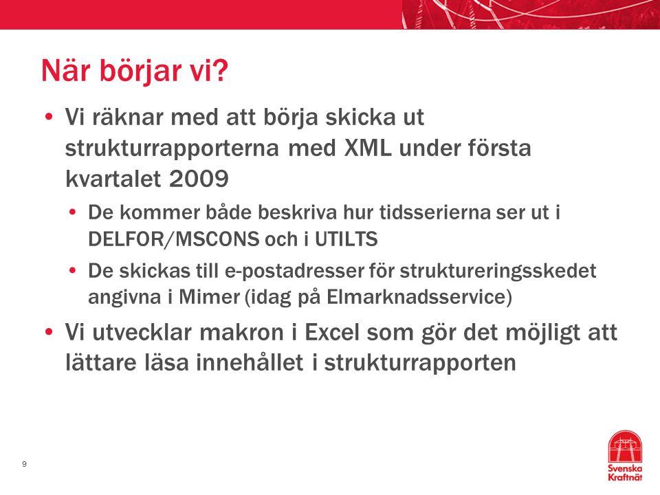 När börjar vi Vi räknar med att börja skicka ut strukturrapporterna med XML under första kvartalet 2009.