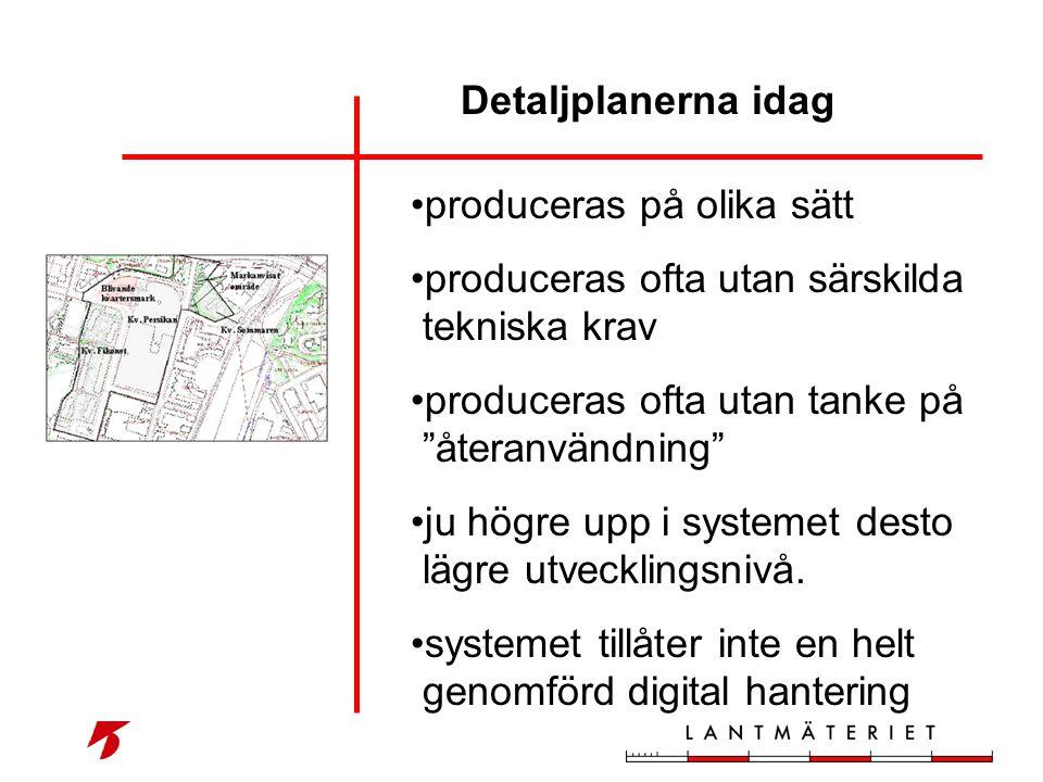 Detaljplanerna idag produceras på olika sätt. produceras ofta utan särskilda tekniska krav. produceras ofta utan tanke på återanvändning