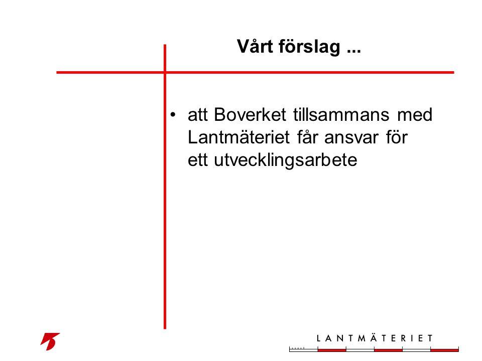 Vårt förslag ... att Boverket tillsammans med Lantmäteriet får ansvar för ett utvecklingsarbete