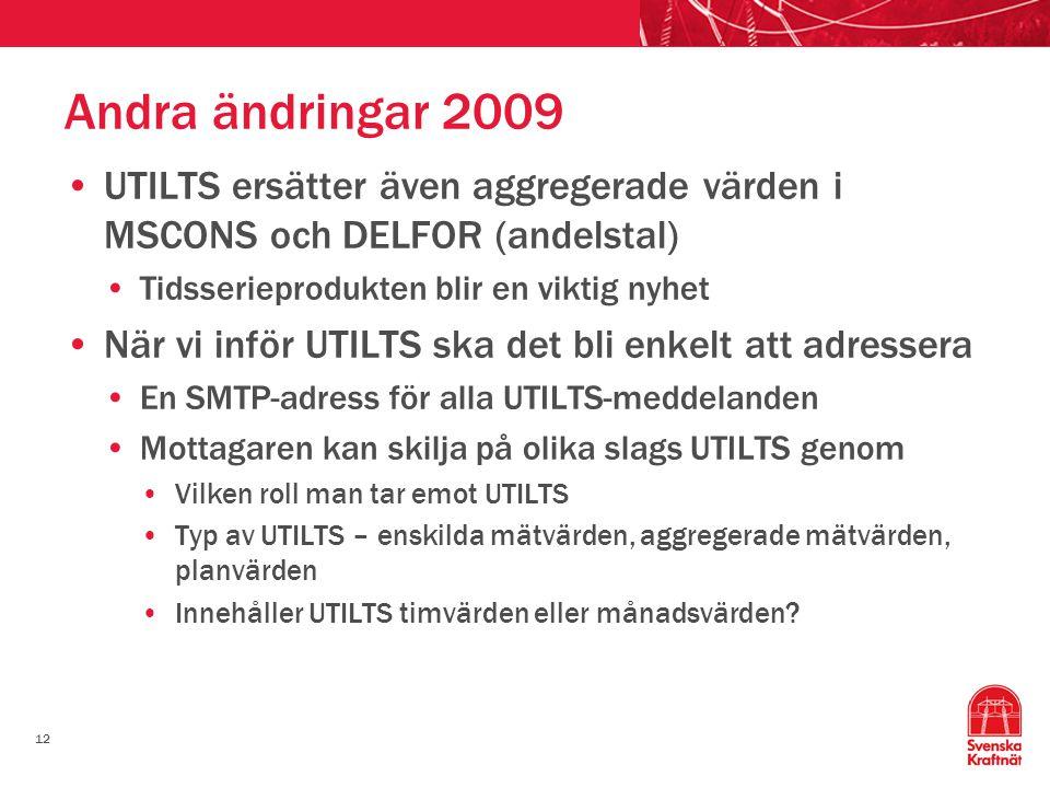 Andra ändringar 2009 UTILTS ersätter även aggregerade värden i MSCONS och DELFOR (andelstal) Tidsserieprodukten blir en viktig nyhet.