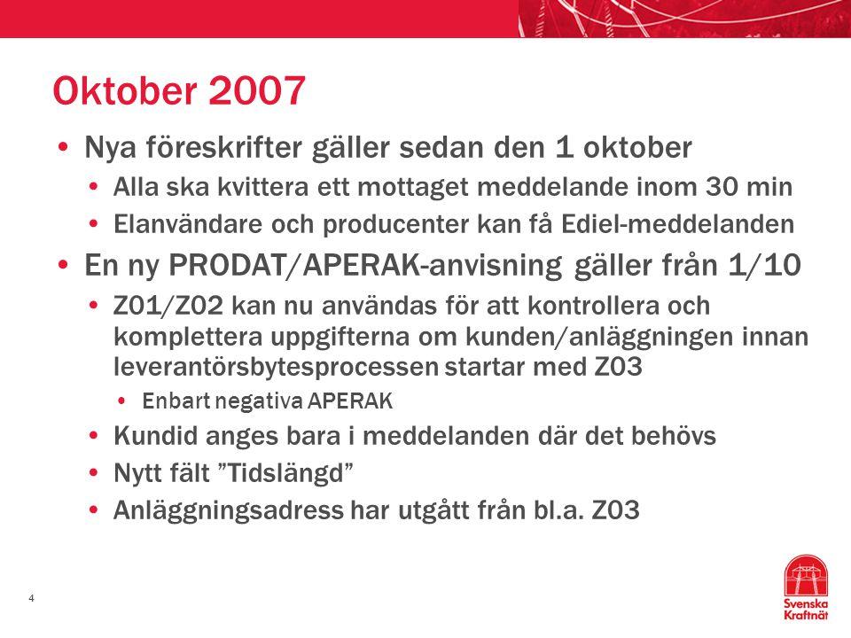 Oktober 2007 Nya föreskrifter gäller sedan den 1 oktober