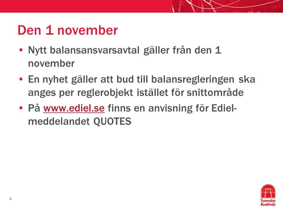 Den 1 november Nytt balansansvarsavtal gäller från den 1 november