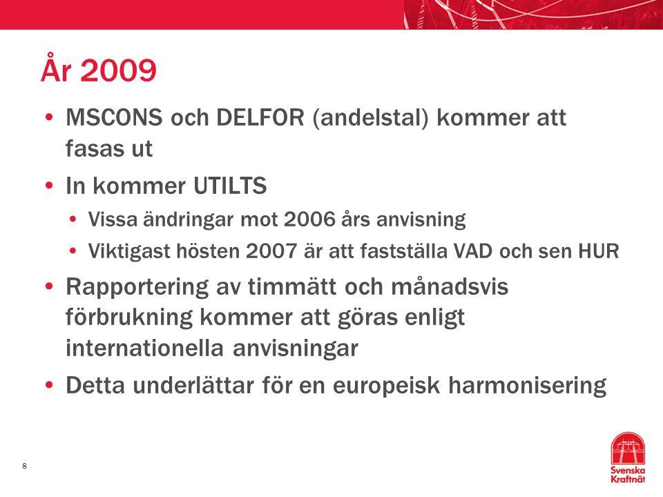 År 2009 MSCONS och DELFOR (andelstal) kommer att fasas ut