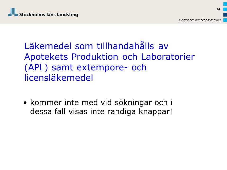 Läkemedel som tillhandahålls av Apotekets Produktion och Laboratorier (APL) samt extempore- och licensläkemedel