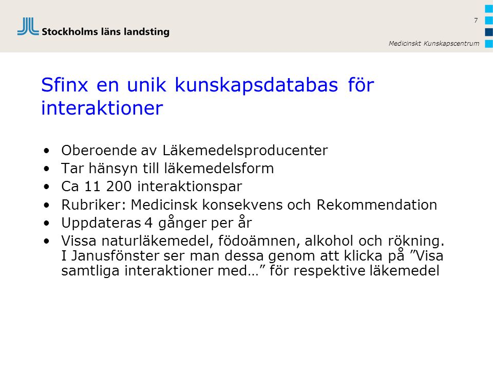 Sfinx en unik kunskapsdatabas för interaktioner
