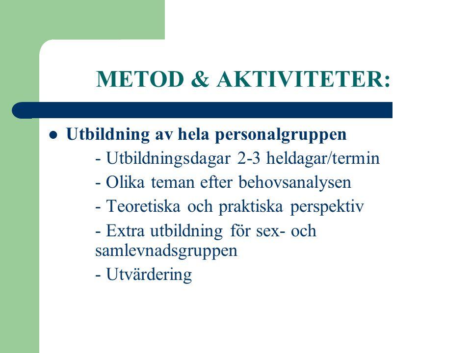 METOD & AKTIVITETER: Utbildning av hela personalgruppen
