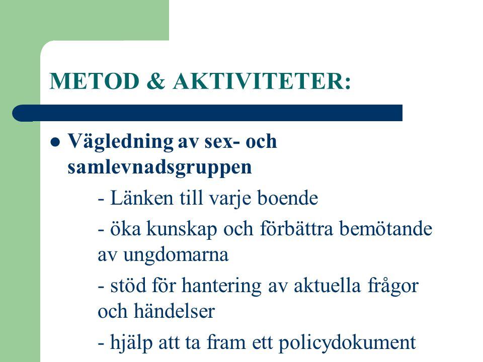 METOD & AKTIVITETER: Vägledning av sex- och samlevnadsgruppen