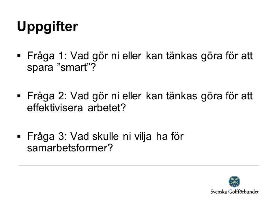 Uppgifter Fråga 1: Vad gör ni eller kan tänkas göra för att spara smart
