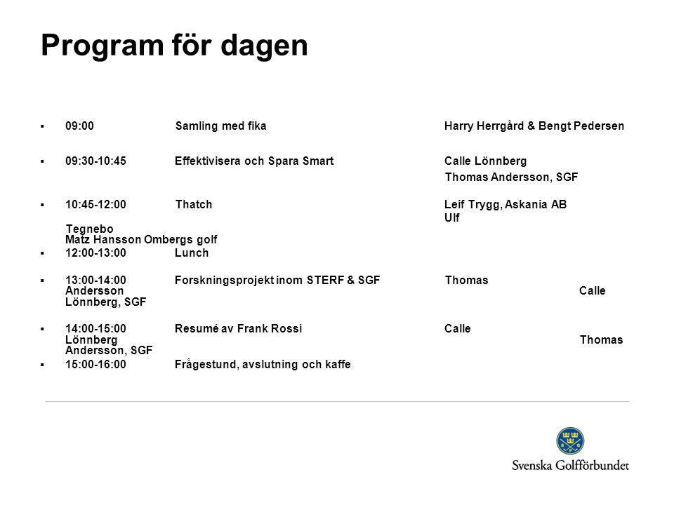 Program för dagen 09:00 Samling med fika Harry Herrgård & Bengt Pedersen. 09:30-10:45 Effektivisera och Spara Smart Calle Lönnberg.