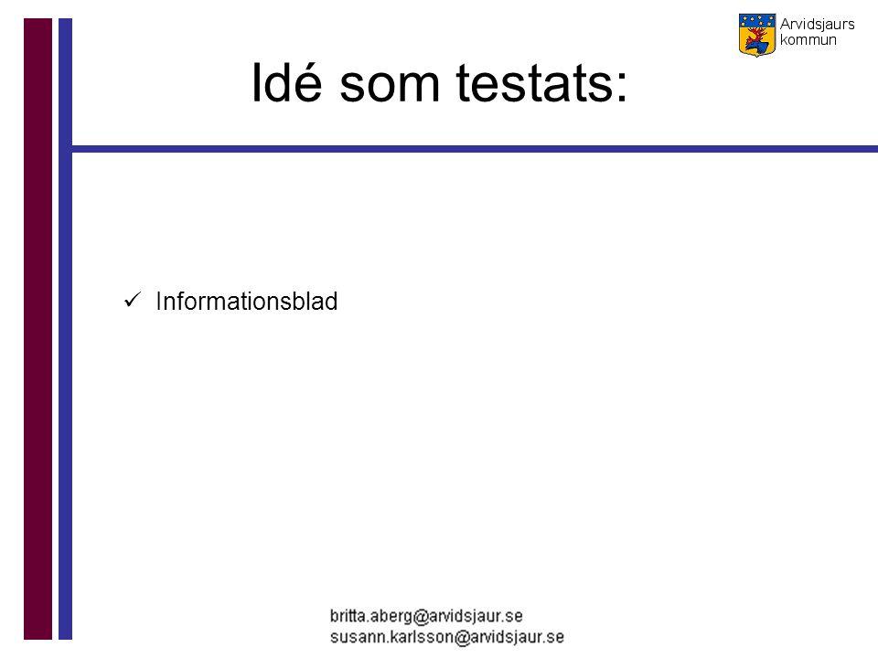 Idé som testats: Informationsblad