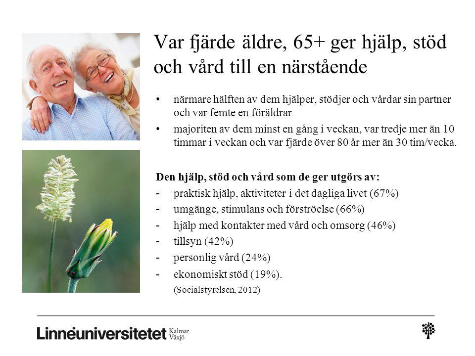 Var fjärde äldre, 65+ ger hjälp, stöd och vård till en närstående