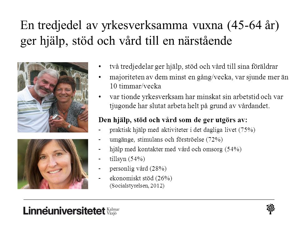 En tredjedel av yrkesverksamma vuxna (45-64 år) ger hjälp, stöd och vård till en närstående