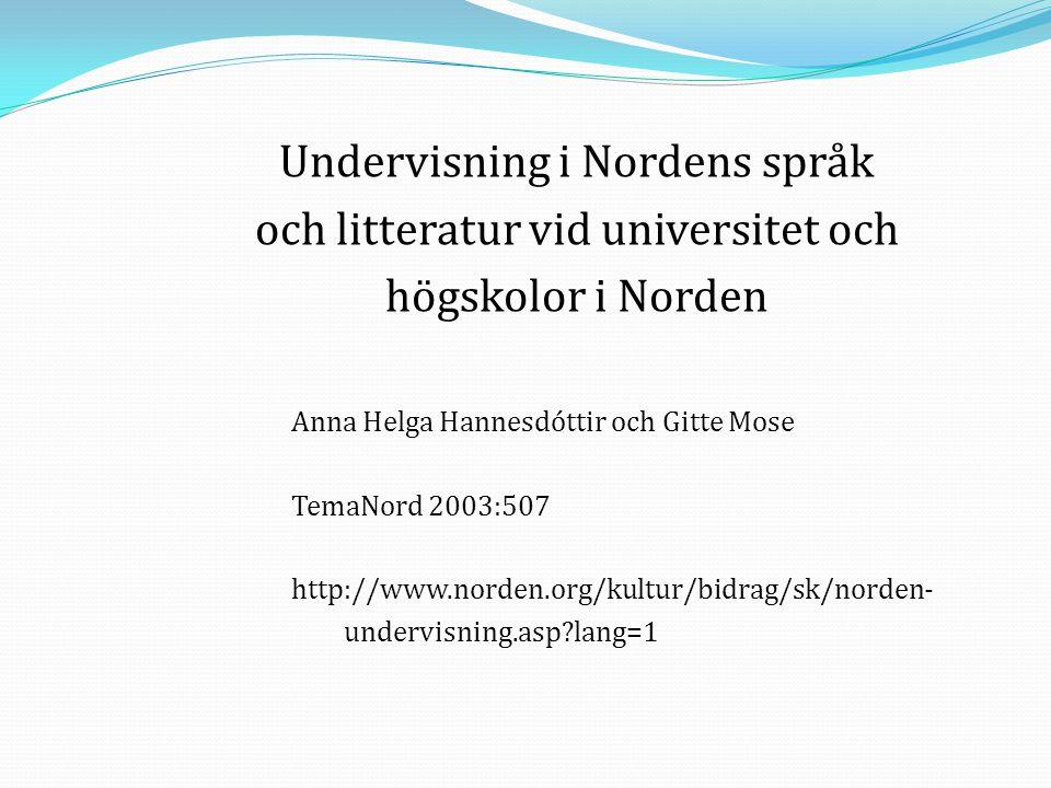 Undervisning i Nordens språk och litteratur vid universitet och
