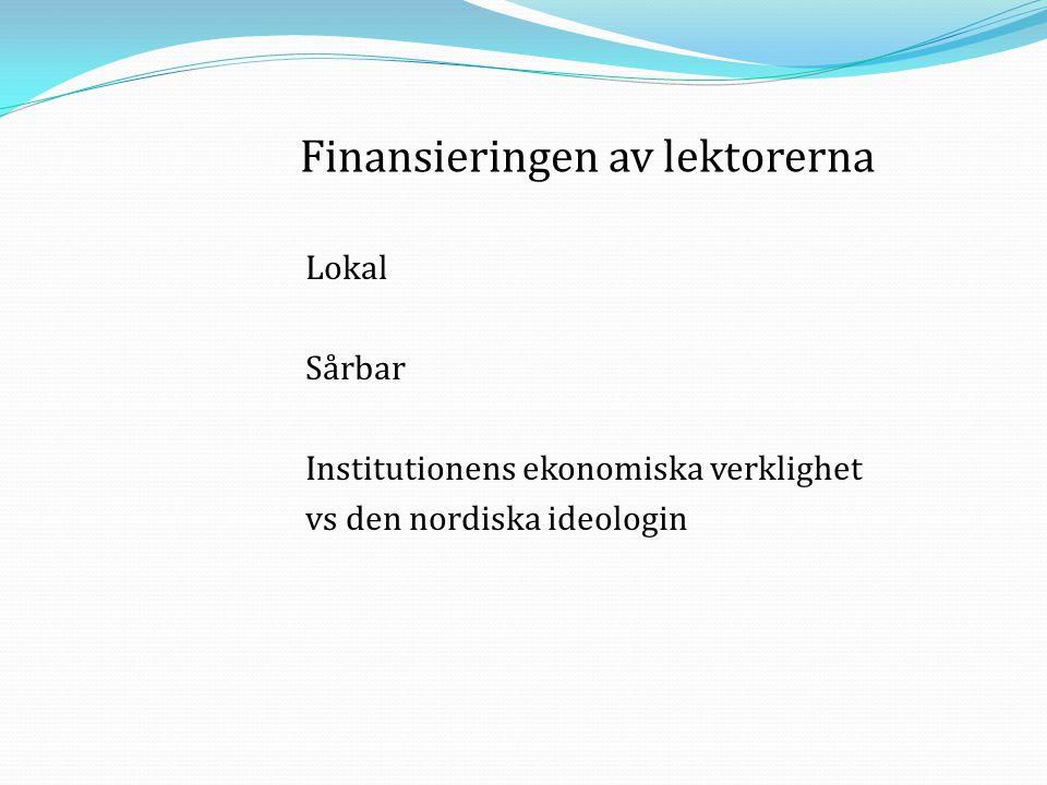 Finansieringen av lektorerna