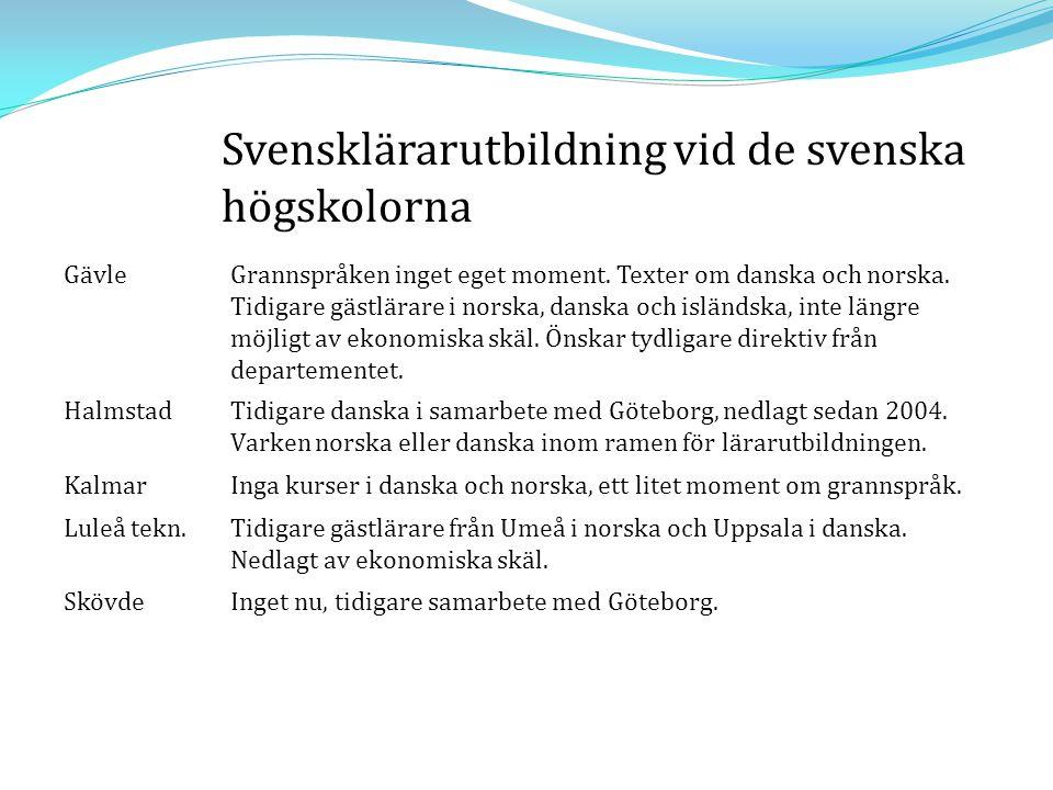 Svensklärarutbildning vid de svenska högskolorna