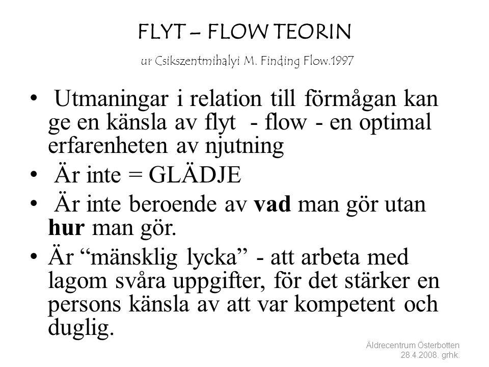 FLYT – FLOW TEORIN ur Csikszentmihalyi M. Finding Flow.1997