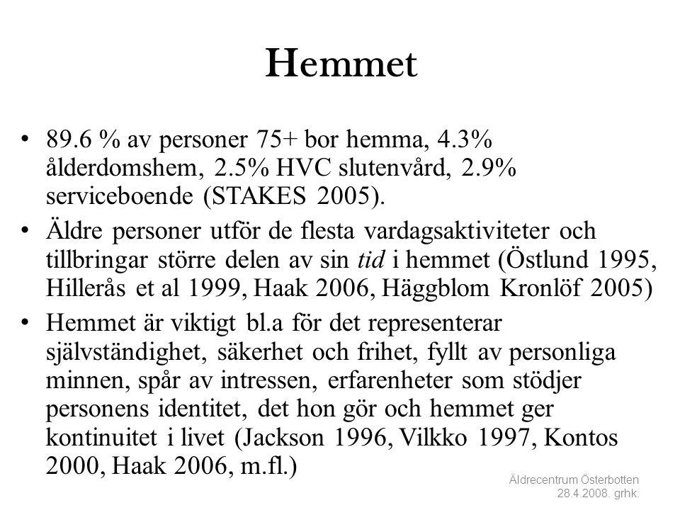 Hemmet 89.6 % av personer 75+ bor hemma, 4.3% ålderdomshem, 2.5% HVC slutenvård, 2.9% serviceboende (STAKES 2005).