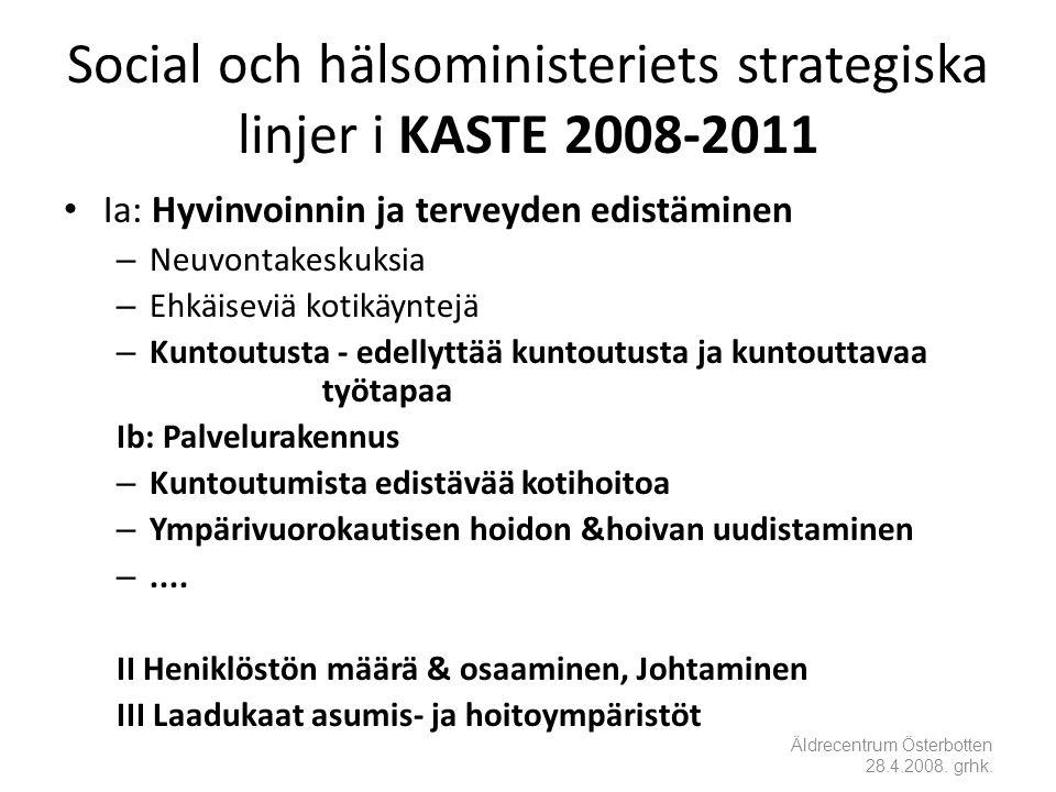 Social och hälsoministeriets strategiska linjer i KASTE 2008-2011