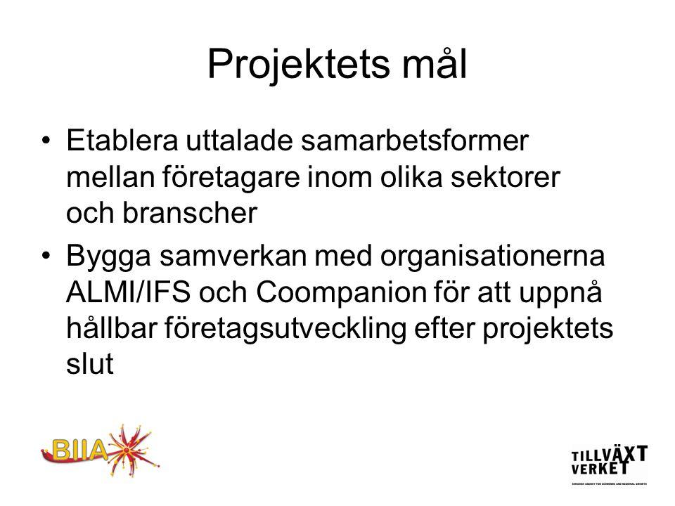 Projektets mål Etablera uttalade samarbetsformer mellan företagare inom olika sektorer och branscher.