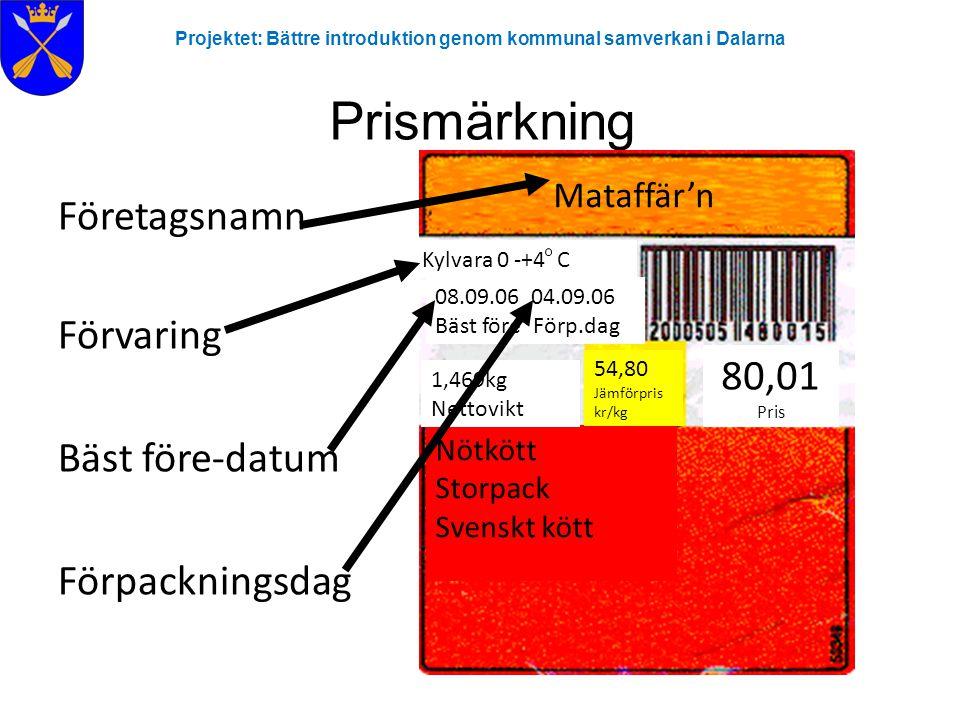 Prismärkning Företagsnamn Förvaring Bäst före-datum 80,01 Pris