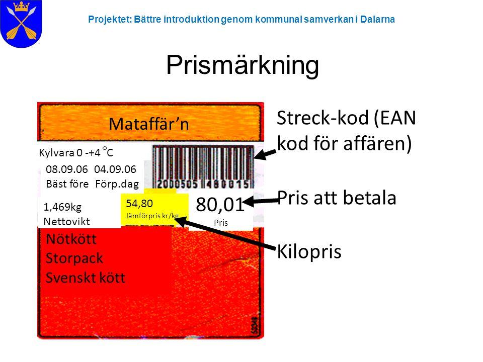 Prismärkning Streck-kod (EAN kod för affären) Pris att betala Kilopris