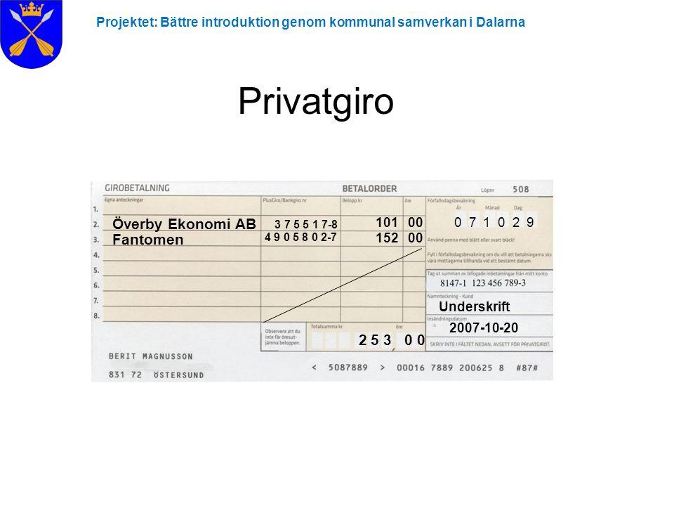 Privatgiro Överby Ekonomi AB 3 7 5 5 1 7-8 Fantomen