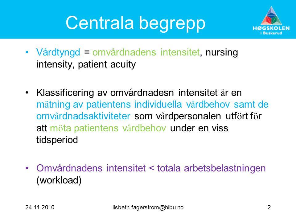 Centrala begrepp Vårdtyngd = omvårdnadens intensitet, nursing intensity, patient acuity.