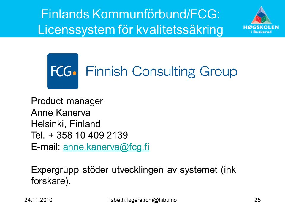 Finlands Kommunförbund/FCG: Licenssystem för kvalitetssäkring