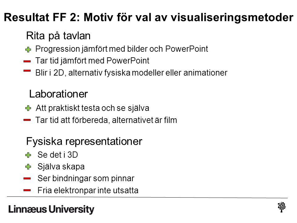 Resultat FF 2: Motiv för val av visualiseringsmetoder