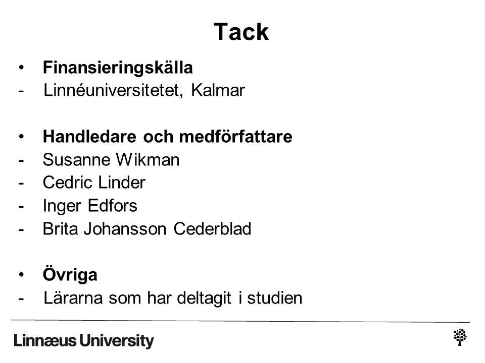 Tack Finansieringskälla - Linnéuniversitetet, Kalmar