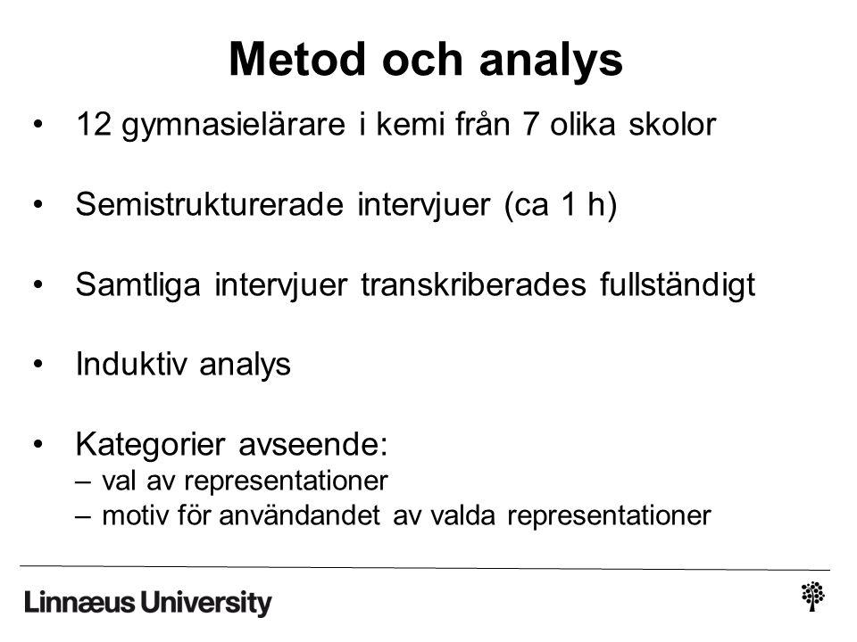 Metod och analys 12 gymnasielärare i kemi från 7 olika skolor