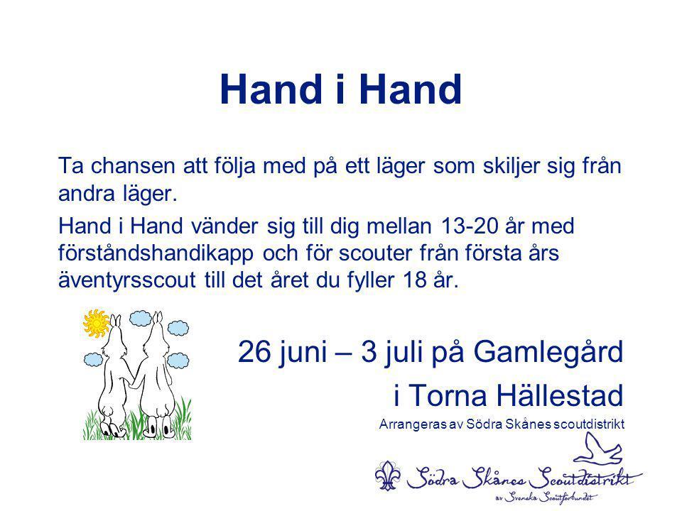 Hand i Hand 26 juni – 3 juli på Gamlegård i Torna Hällestad