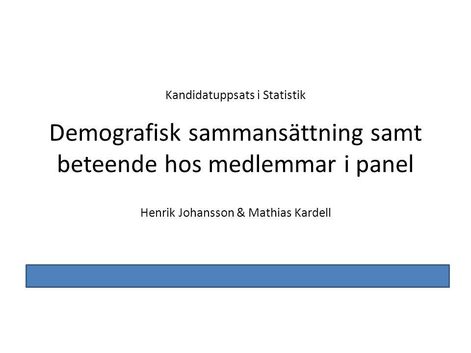 Demografisk sammansättning samt beteende hos medlemmar i panel