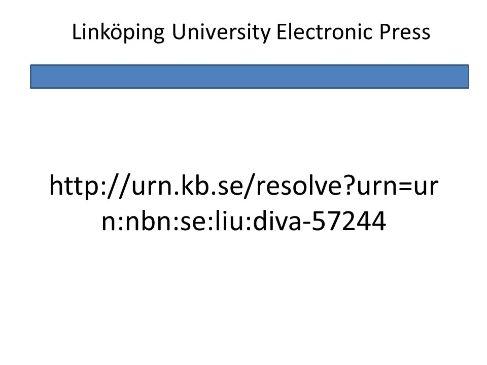 Linköping University Electronic Press