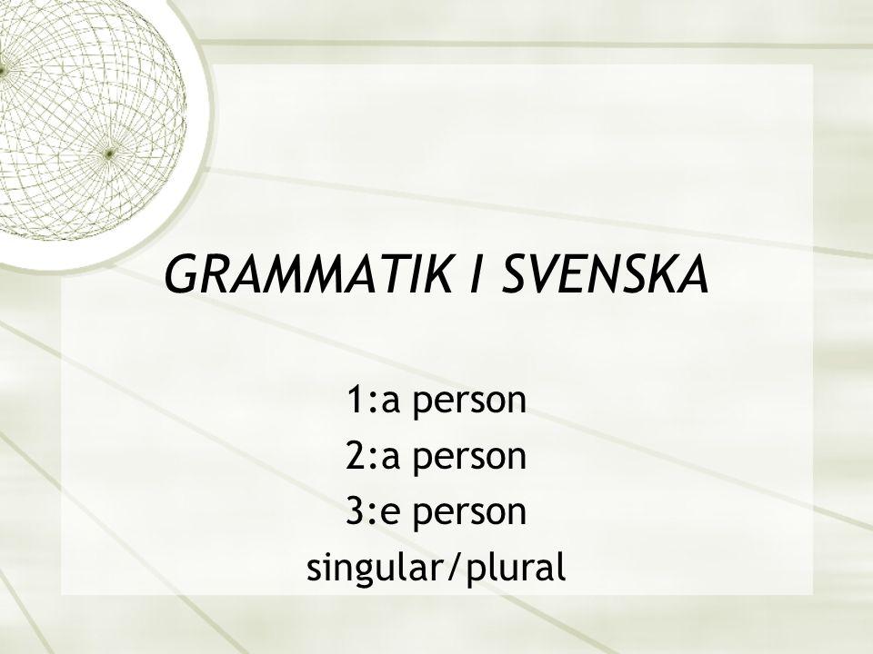 1:a person 2:a person 3:e person singular/plural