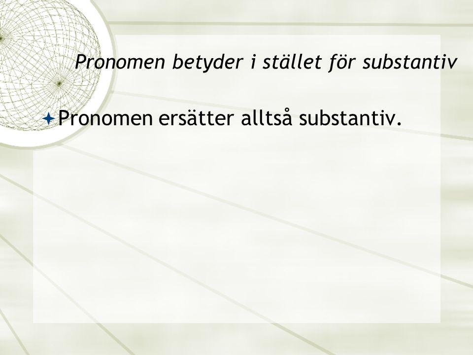 Pronomen betyder i stället för substantiv