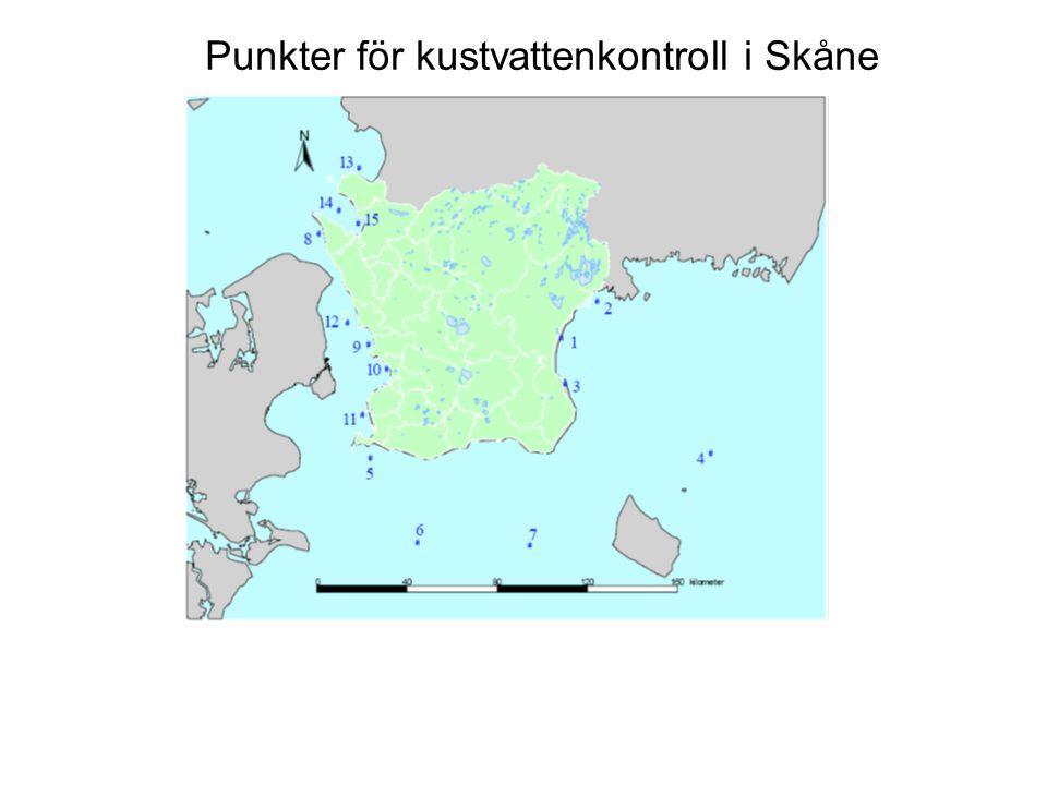 Punkter för kustvattenkontroll i Skåne