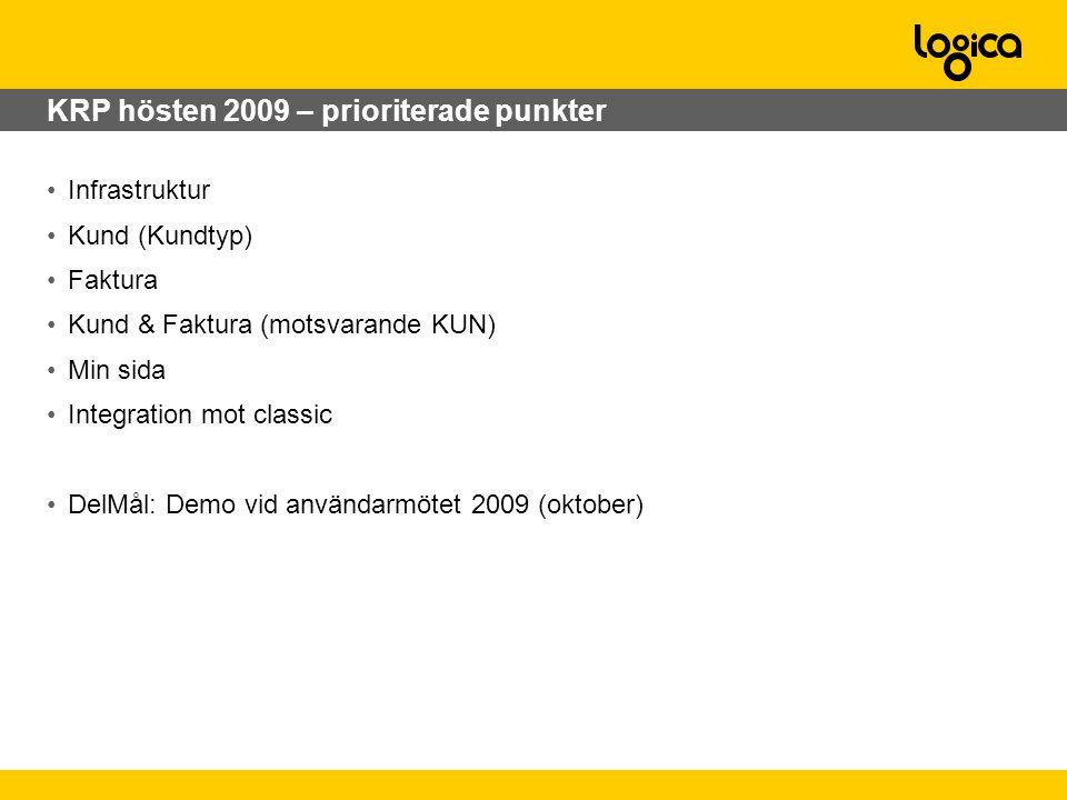 KRP hösten 2009 – prioriterade punkter