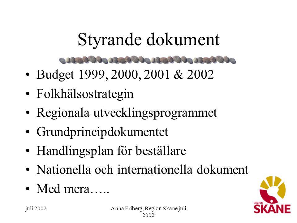 Anna Friberg, Region Skåne juli 2002