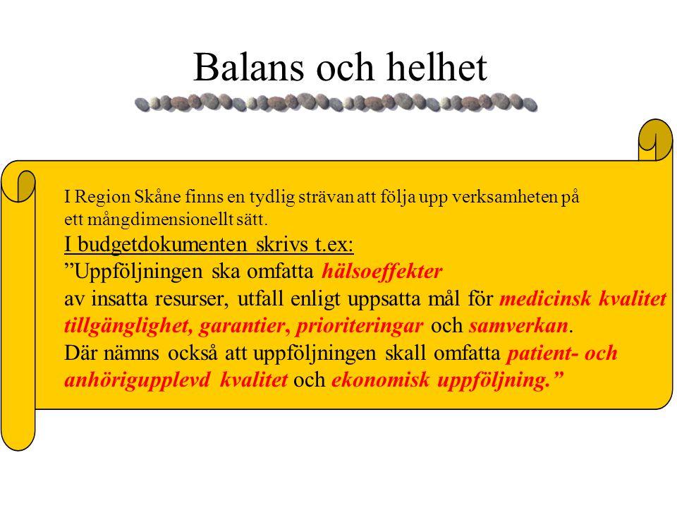 Balans och helhet I budgetdokumenten skrivs t.ex: