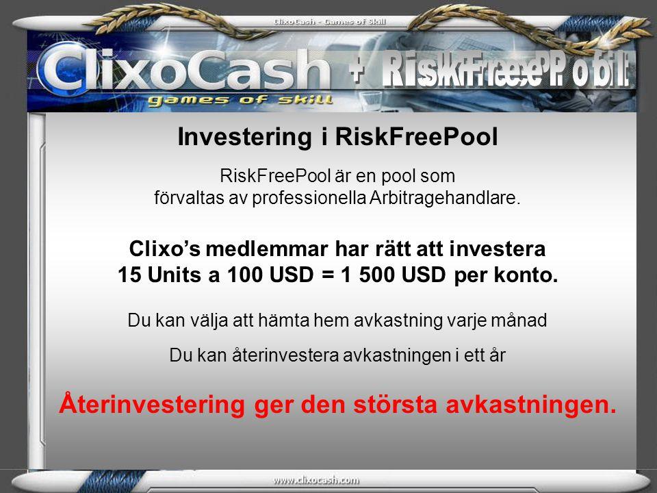 + RiskFreeProfit + RiskFreePool Investering i RiskFreePool