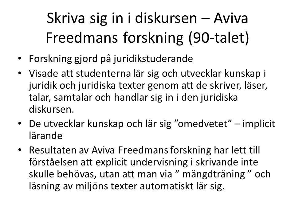 Skriva sig in i diskursen – Aviva Freedmans forskning (90-talet)