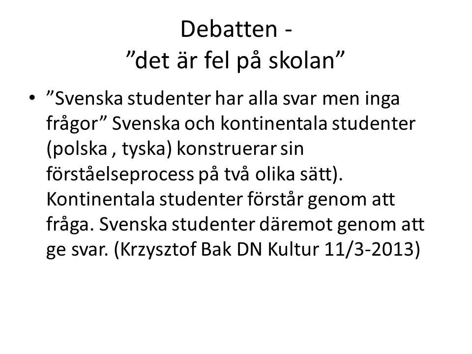 Debatten - det är fel på skolan