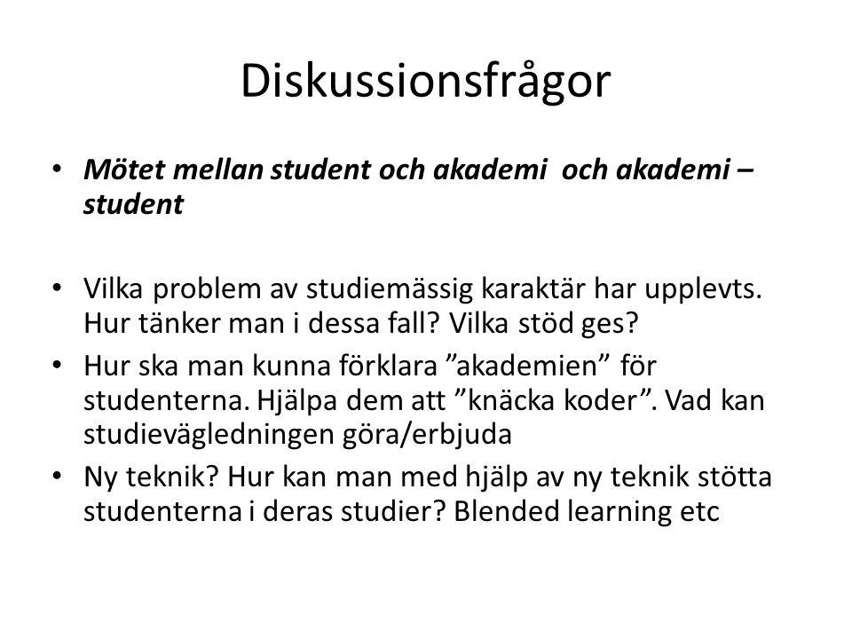 Diskussionsfrågor Mötet mellan student och akademi och akademi – student.