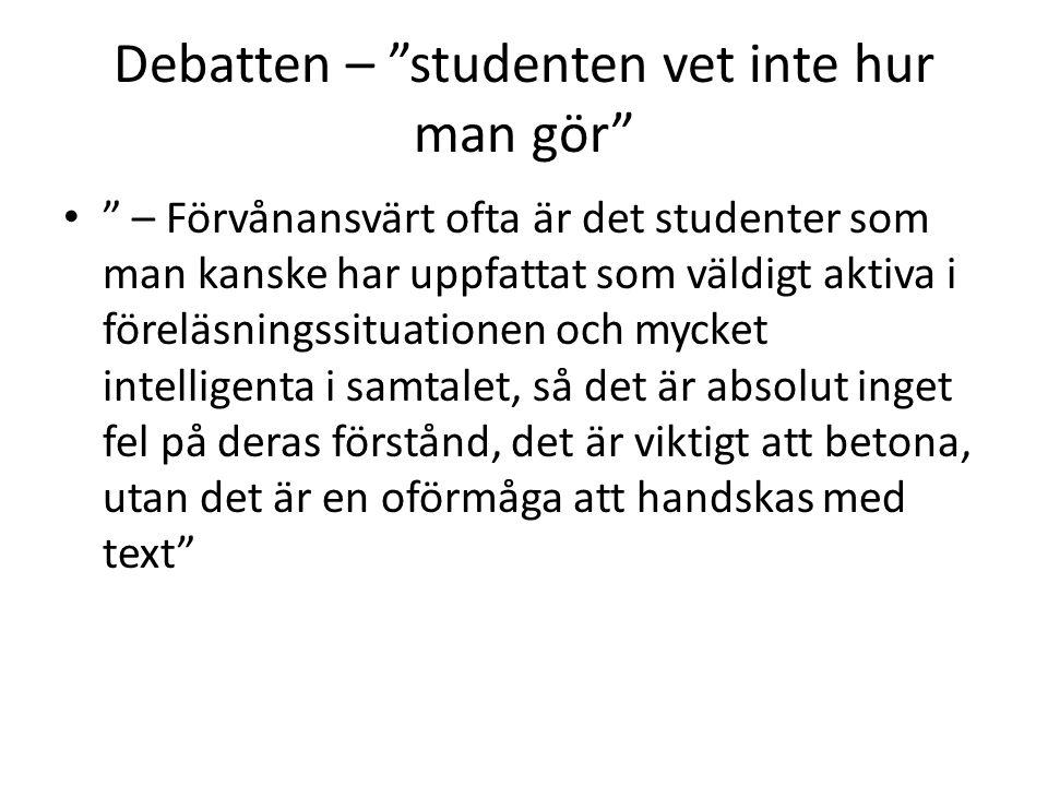 Debatten – studenten vet inte hur man gör